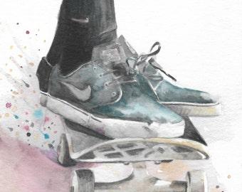 original watercolor painting / vans sneakers / skateboarding art / blue sneakers / skateboard art / watercolor splash / HM054