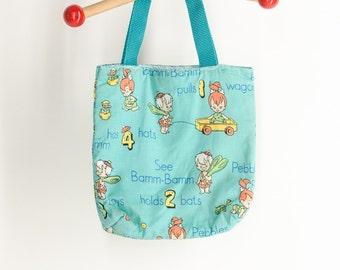 Vintage 60s Bam Bam FLINTSTONES Alphabet and Letter Handbag Kidcore Raver Handbag Kawaii Clubkid Hand bag Club Kid