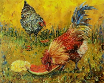 Rooster chickens hen palette knife art on Giclee CANVAS PRINT of original oil painting by Sandra Cutrer Fine Art