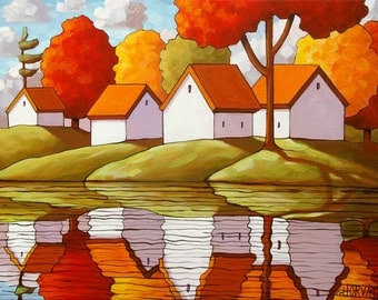 8x11 Art Print Modern Folk Art White Cottages Fall Trees River Red Water Reflection Autumn Landscape Artwork Giclee Reproduction by Horvath
