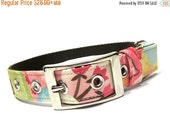 ON SALE Pink and Brown Sophia Floral Dog Collar