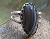 RESERVED For cfritsche1  Vintage Sterling Silver Women's Ring Size 8 with Black and Gray Jasper Stone Unique Victorian Setting Women's Ring