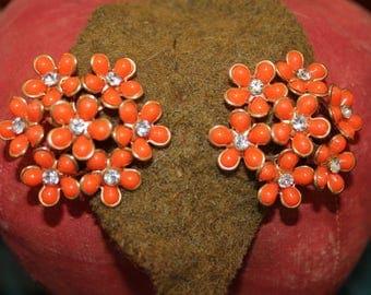 Orange Flower Clip Earrings