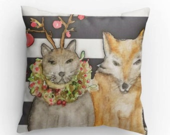 Cat - Fox - Pillow - Holiday Pillow - Decorative Pillow - Antler and Wreath