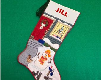 Right Facing Snowman Embroidery Kit - Christmas Stocking Crewel Needlework Crafting Kit with Woodland Creatures