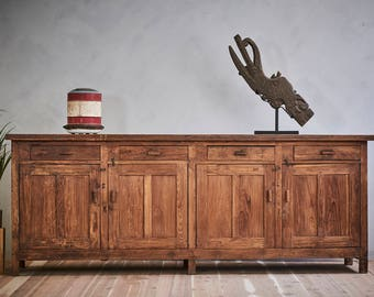 Large Distressed Table Top Sideboard Media Console