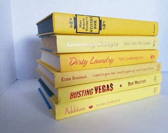 Set of 6  Yellow Books; Home or Wedding Decor; Instant Library; Book Display; Photo Prop