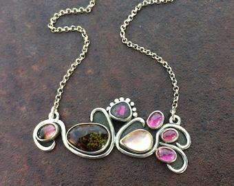 Fire Agate, Sunstone, Watermelon Tourmaline & Garnet Metalwork Necklace - Natural Gemstone Jewelry - Horizontal Necklace
