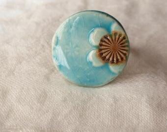 Bague céramique turquoise miya