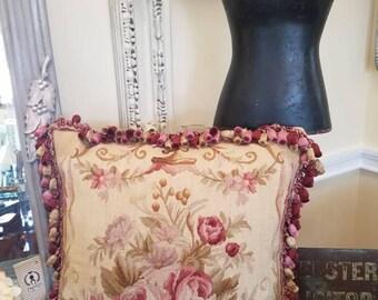 Lovely rose tapestry pillow with bouillon fringe