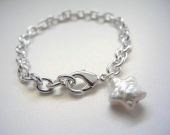 Children's Jewelry, White Cultured Freshwater Star Shaped Pearl on Charm Bracelet