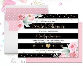 FLORAL Bridal Shower Invitation, Engagement Party Invitation, Engagement Invite, Pink and Gold Glitter Bridal Shower, Flowers