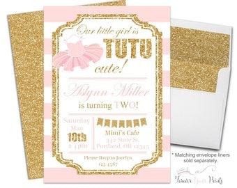 Tutu Birthday Party Invitations, Girls Birthday Party Invitations, Ballerina Birthday Invitations, Glitter Birthday, Tutu Invite, Tutu Party