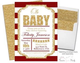 Red and Gold Baby Shower Invitation Neutral - Printable Baby Shower Invites - Oh Baby Invitation - Oh Baby Invite - Glitter Baby Shower