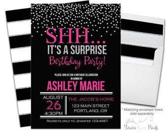 Surprise Birthday Invitation - Surprise Party Invitation - Surprise Birthday Invite - Surprise Party Invite - Adult Birthday - Pink + Silver