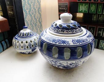 Two Blue and White Chinoiserie Ginger Jars, Silvestri,Tea Candle Holders, Palm Beach Decor, English Country Decor, Mantel Decor