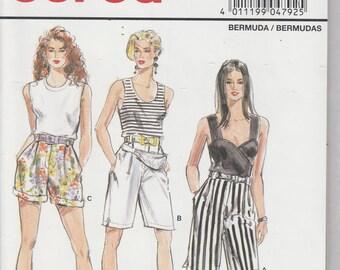 Bermuda Shorts Pattern 3 Lengths Misses Size 10 - 20 Uncut Burda 4792