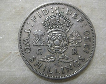 1950 United Kingdom  Two Shilling Florin Great Britian Coin  George VI