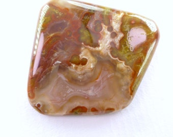Agua Nueva Agate Designer Cab. Natural. Gold / Red Floating Swirls, Mystery Flows & Alien Shores. Can Be Drilled. 1 pc. 33x31x5 mm (PJ428)