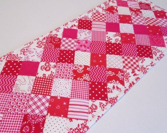 Valentine Table Runner, Quilted Table Runner,  Quilted Table Topper, Cottage Chic Table Quilt, Red White Pink, Valentines Day Decor
