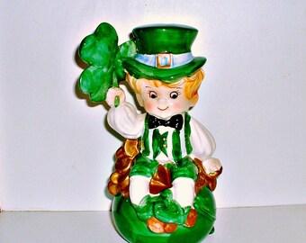 Lefton Leprechaun Figurine  Pot of Gold Bank Vintage Shamrock Irish St. Patrick's Day  Elf Pixie Lucky Ceramic