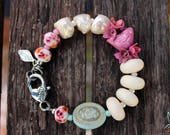 Custom order - bracelet in pink, white and mint with matching mis-matched earrings