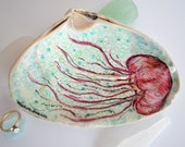 Pink Jellyfish Ring Holder, Engagement Ring Dish,  Hand Painted Clam Shell, Red and Mint, Sea Life Art, Beach Cottage Decor
