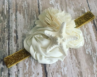 Gold Mermaid Headband {Newborn, Baby, Toddler, Girl & Adult} Under the Sea + Ocean Queen + Cake Smash + Photo Prop + Glitter Band + Starfish
