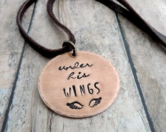 Under His Wings Necklace - Christian Jewelry - Inspirational Religious Jewelry - Bible Verse Psalm 91:4 - Copper Stamped Jewelry