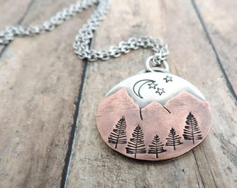 Night Sky Mountain Necklace - Mountain Range Pendant - Gift for Hiker, Outdoor Woman - Nature Jewelry - Moon and Stars