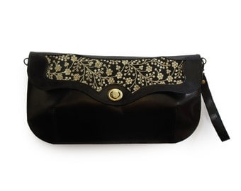 Free shipping Black handbag with sparkley embroidery, Leather embroidered purse, Women's cross body purse