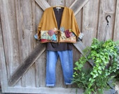 linen jacket in mustard gold with vintage kantha quilt linens one of a kind ready to ship