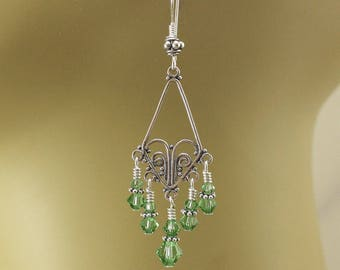 Green Chandelier Earrings Crystal and Sterling Silver Bohemian Jewelry Lightweight Hippie Chic Earrings