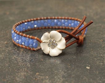 Shabby Boho Chic Flower Jewelry Off White Cornflower Blue Wrap Bracelet Single Leather Wrap Bracelet