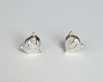 Sterling Silver Fox Earrings, Cubic Zirconia, Birthday Gift, Girls Gift, Kids Gift, Girls Jewelry,  Kids Jewelry