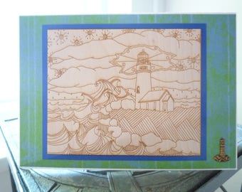 The Lighthouse, Laser Engraved Greeting Card