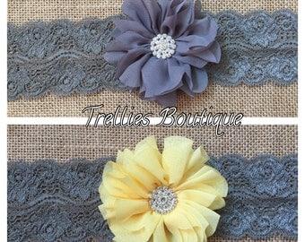 Dark Gray Yellow Lace Headband- Gray Chiffon Lace Headband- Yellow Chiffon Lace Headband- Rhinestone Headband-  Flower Girl Headband