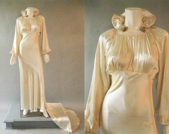 1930s Bridal Dress - Vintage Wedding -  30s Bias Cut Satin - Old Hollywood - Empire Style - Ivory XS - Dress Clips