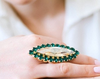 Coctail Ring, Statement Ring,Emerald Ring, Swarovski Statement Crystal Ring,Emerald Champagne Swarovski Rings,Crystal Ring,Crystal Big Ring