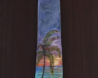 Painted Driftwood Art Palm Tree and Sunset over Ocean