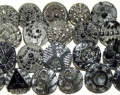Antique Buttons 21 small Victorian Black Glass w/ Silver Luster