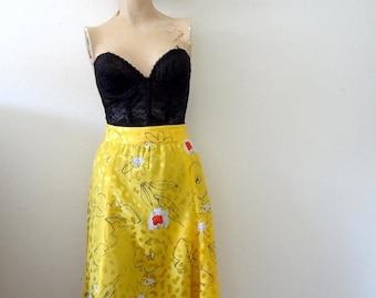 ON SALE 1980s Midi Skirt  silky floral print gored full skirt vintage spring & summer fashion