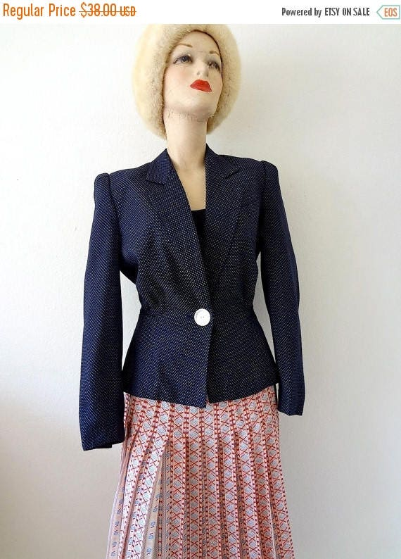 ON SALE Vintage 1980s Suit Coat / 1940s Style Polka Dot Jacket