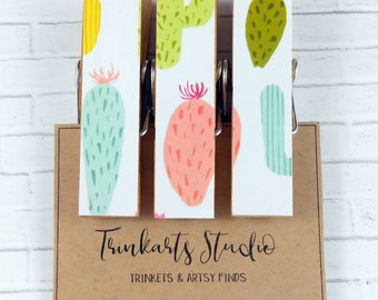 Peg Magnets - Chunky Magnetic Clothespin - Bright Succulent Cactus - Paper Covered Decoupage Decorated Wooden Pegs - Fridge Magnets