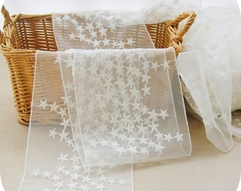 1 Yard  White Embroidery Cotton Embroidery  Lace Gauze 16cm Wide