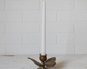 Brass Butterfly, Brass Butterfly Candle Holder, Butterfly Candle Holder, Butterfly Taper Holder, Brass Butterfly Taper Holder