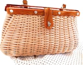 Plastic Coated 1960s Wicker, Rattan, Straw, Natural Fiber, Purse, Clutch, Satchel, Handbag accessory, Lucite accents, Made in Hong Kong