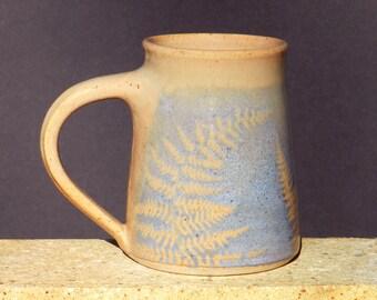 Large Coffee Mug, 18 oz. Handmade, Stoneware Mug, Wheel Thrown Pottery, Blue, Woodland,Microwavable,Kitchen Decor,Cottage , Cabin Dishware