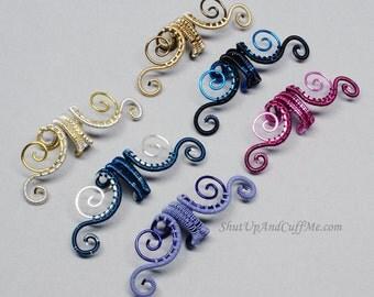 Bi-Color Swirls Fairy Ear Cuff - Custom Ear Cuff - Woven Spirals Ear Cuff - Woven Fairy Ear Cuff