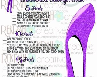 Custom Bachelorette Scavenger Hunt in Purple Glitter